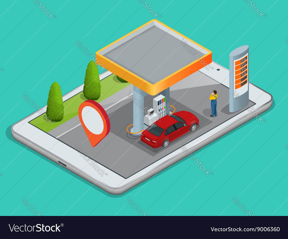 Mobile GPS navigation gas station concept View a