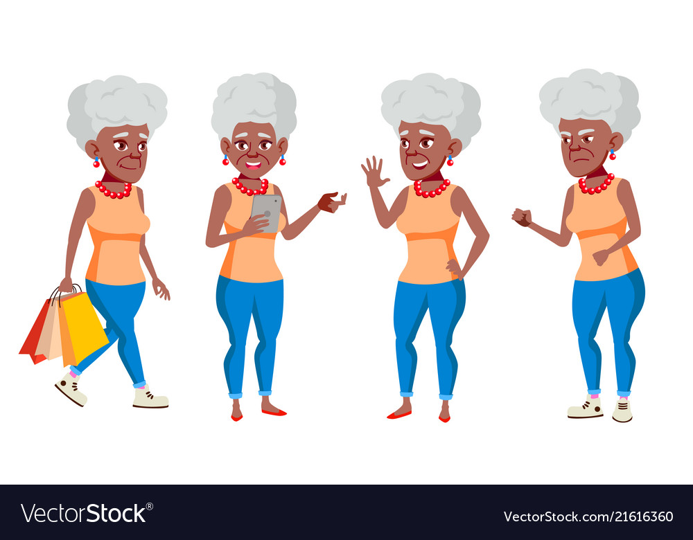 Old woman poses set black afro american