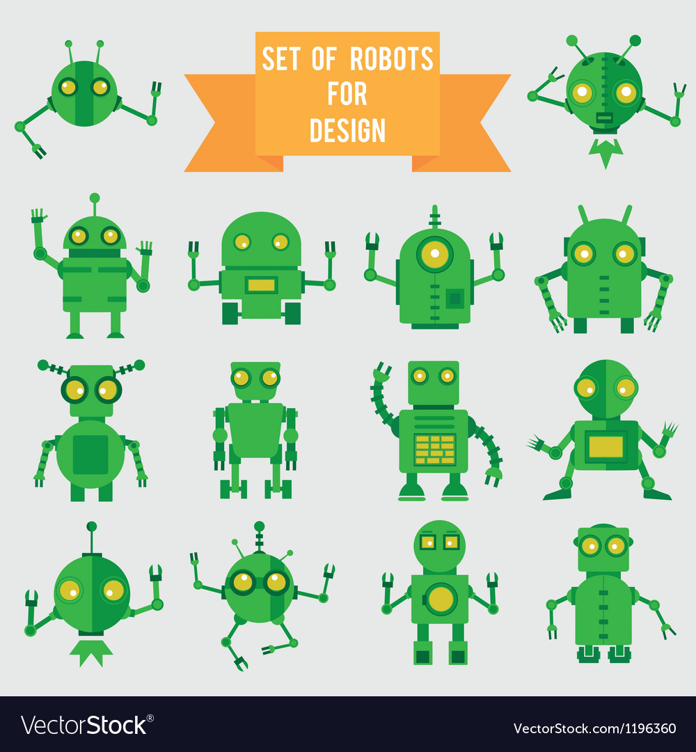 Set of green robots for design vector image