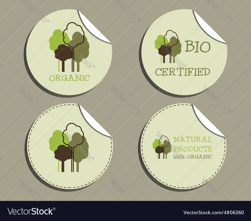 Set of unusual green organic labels - stickers for