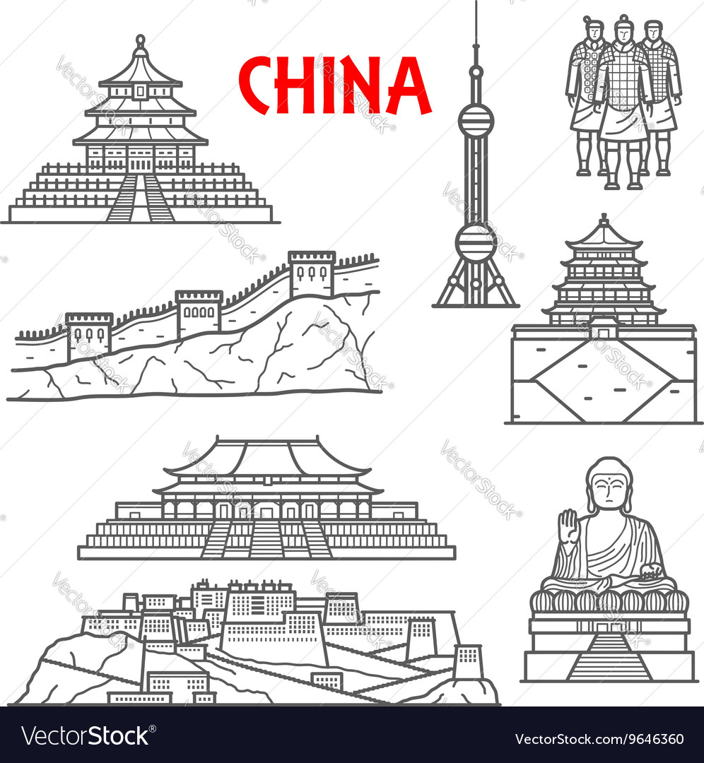 Tourist attractions of China icon thin line style