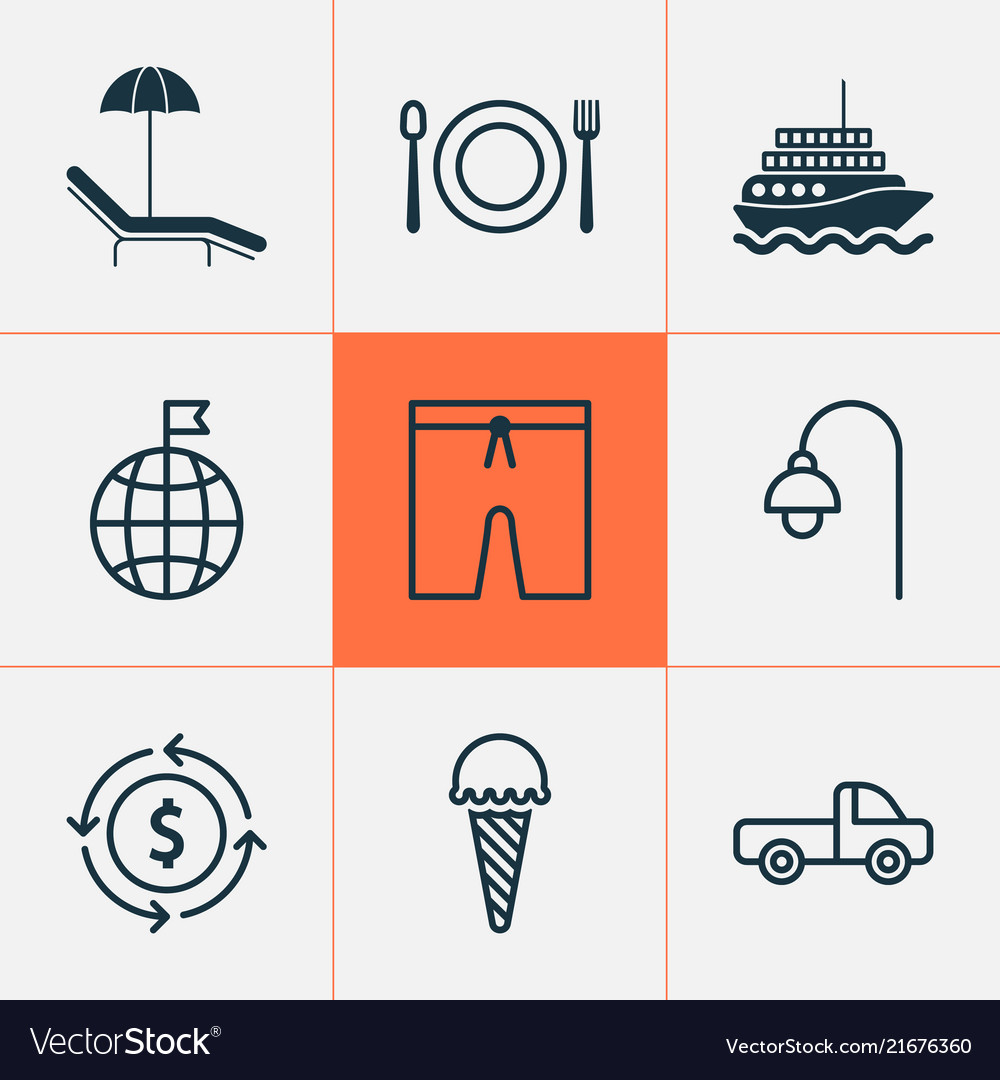 00d7c92d82cb Travel icons set with swim suit beach ice cream Vector Image