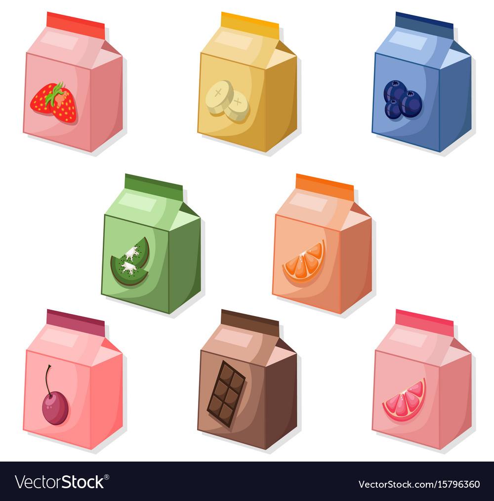 Yogurt or milk package set collection mock up