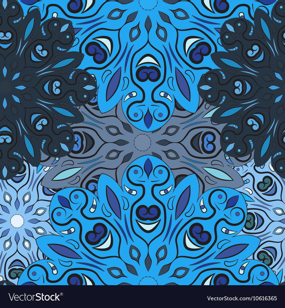 Blue seamless pattern with flowery mandalas vector image