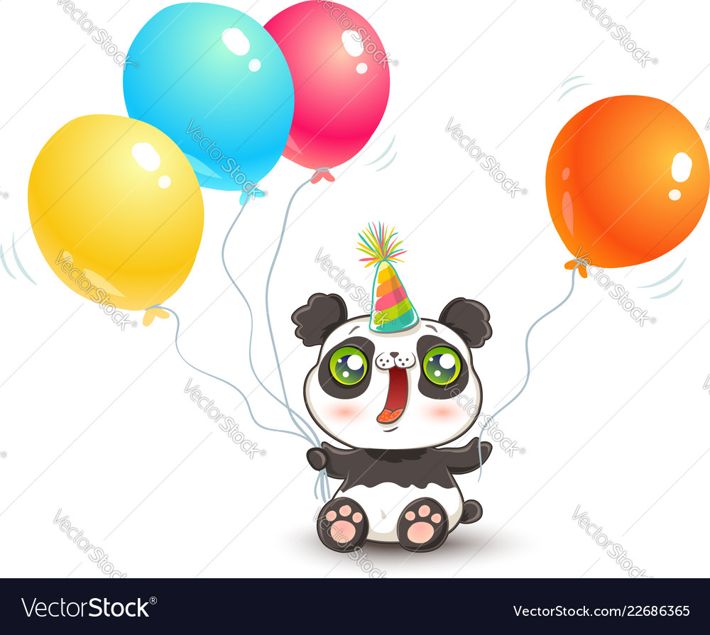 Cute panda with balloons