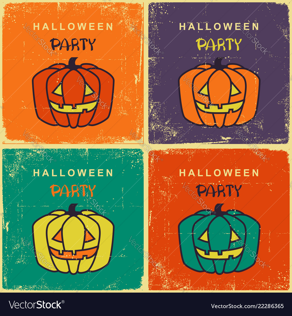 Halloween party vintage cards with pumpkins on