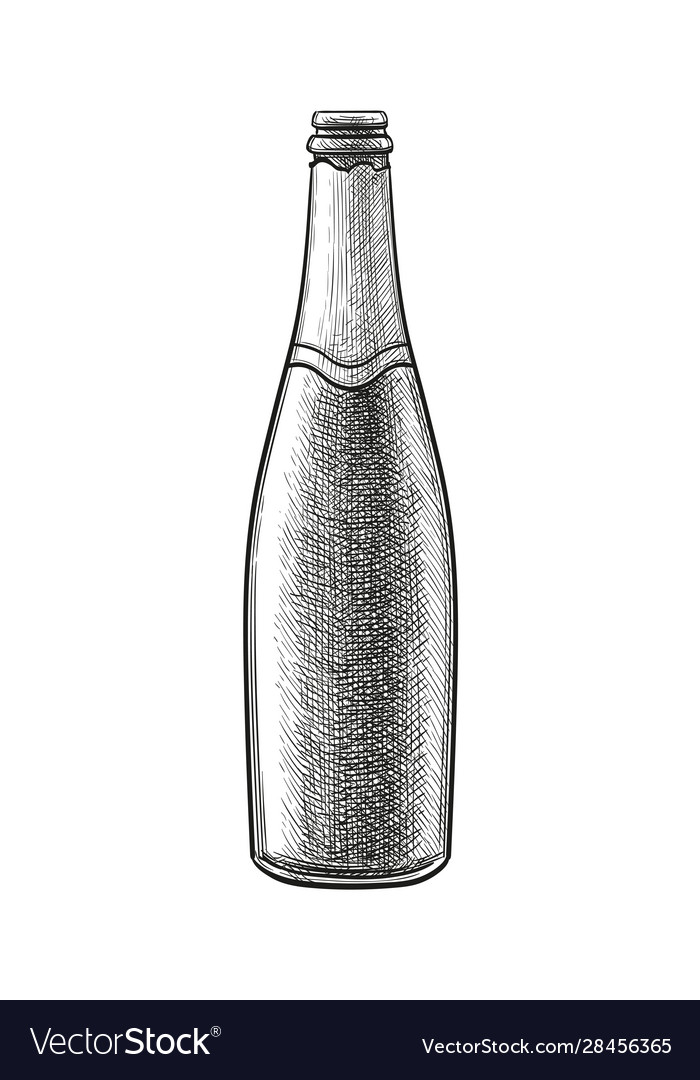 Ink sketch champagne bottle