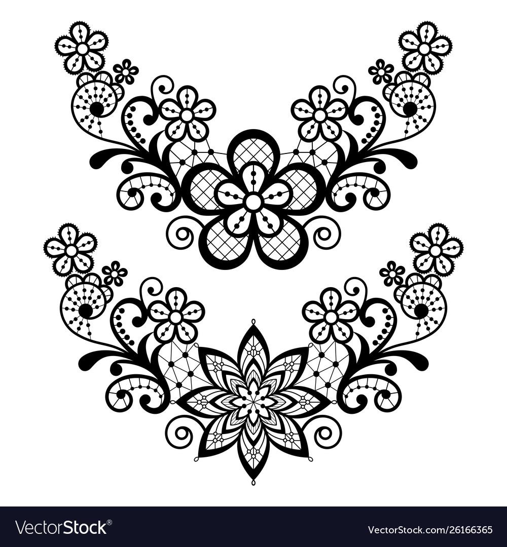 Lace single pattern set - black floral lace