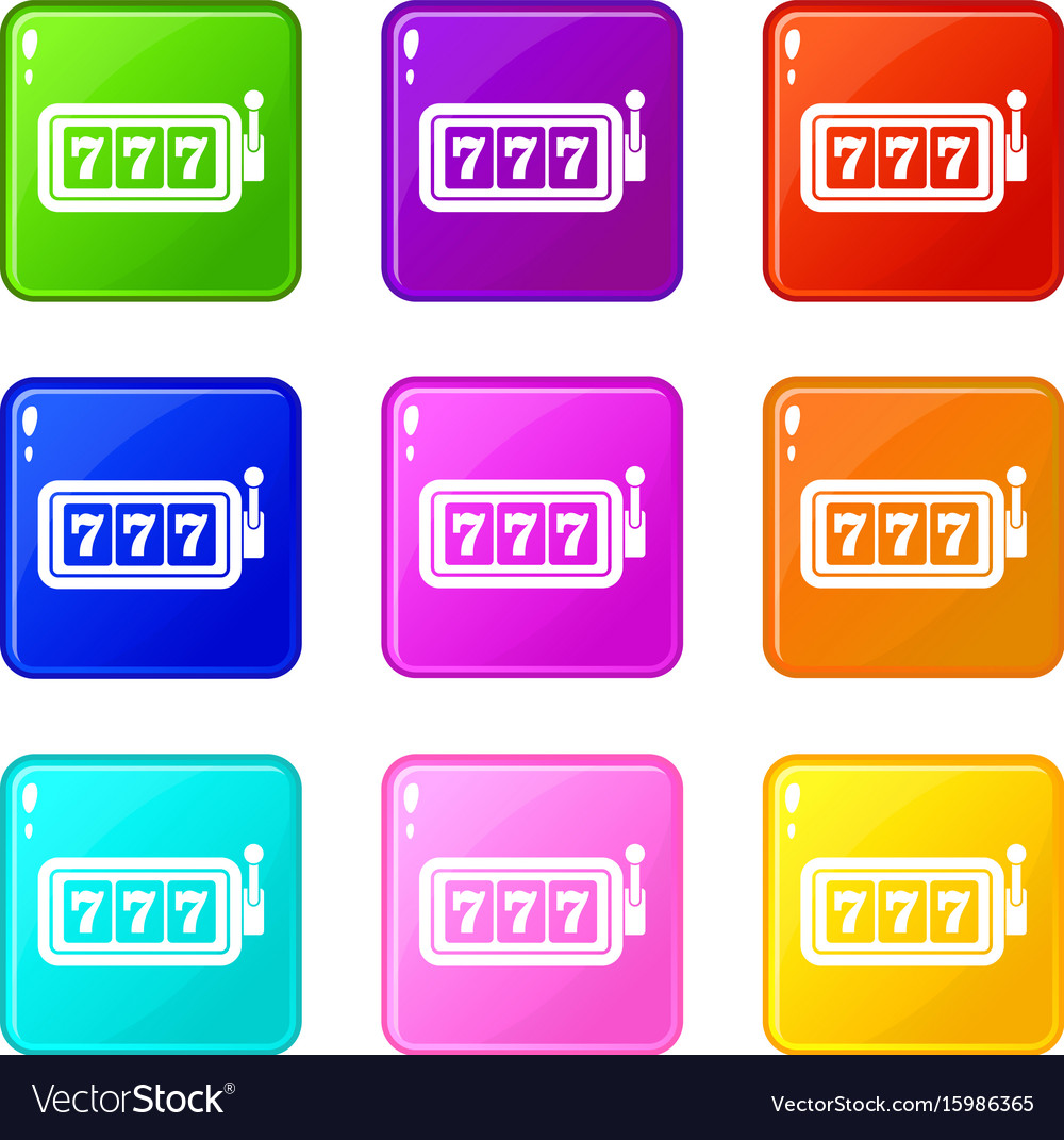 Lucky seven on slot machine set 9 vector image