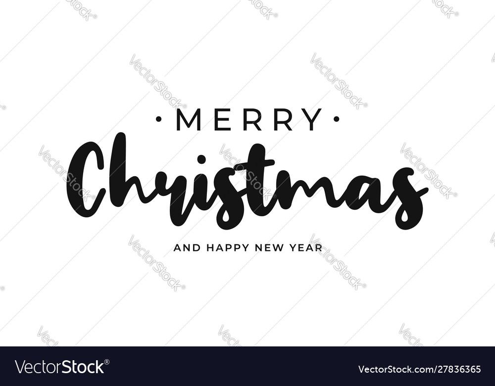Merry christmas and happy new year handwritten