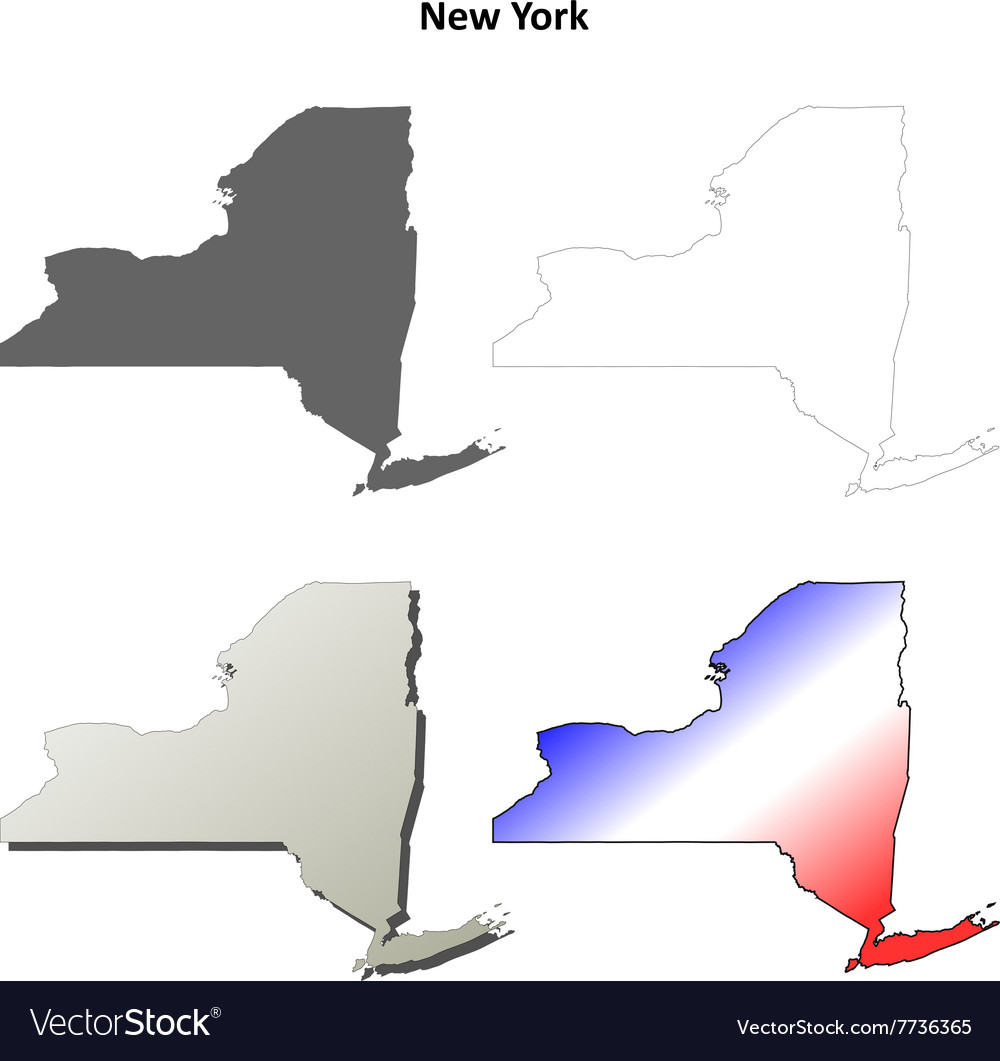 New York outline map set vector image