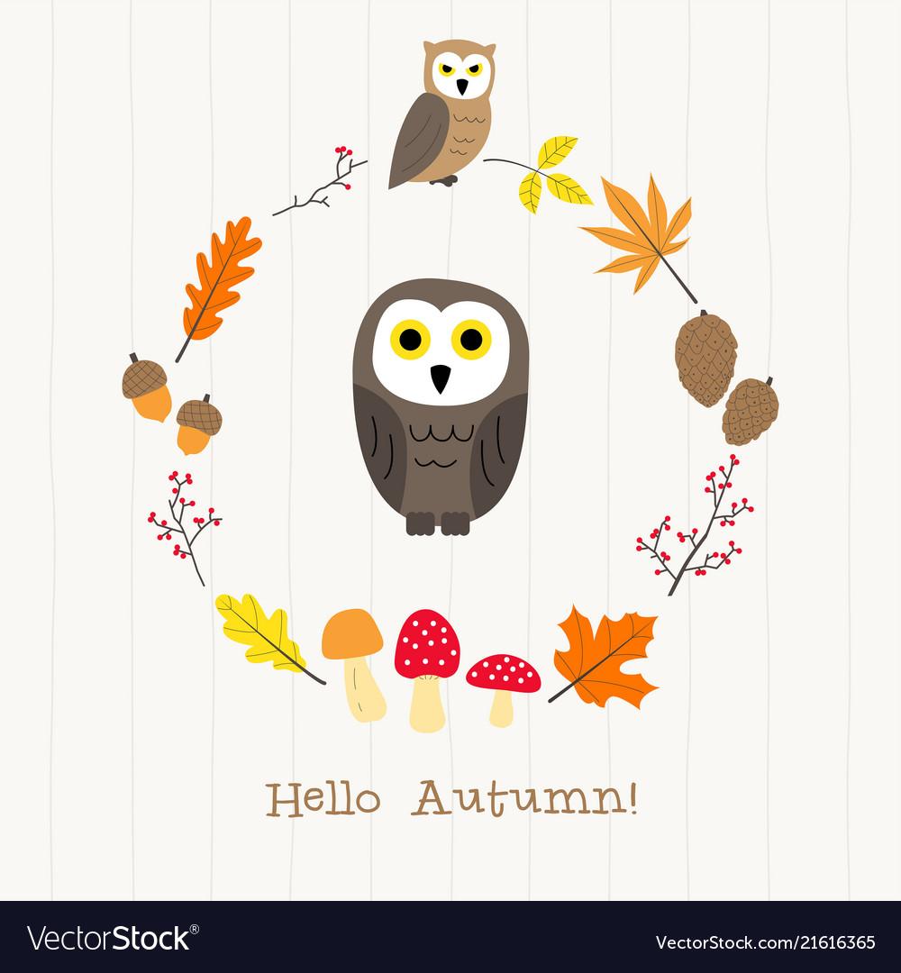 Owl with autumn frame card