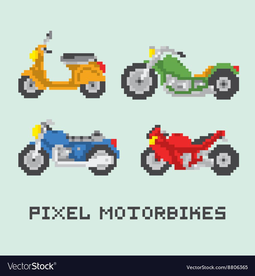Pixel art style motorbike isolated set