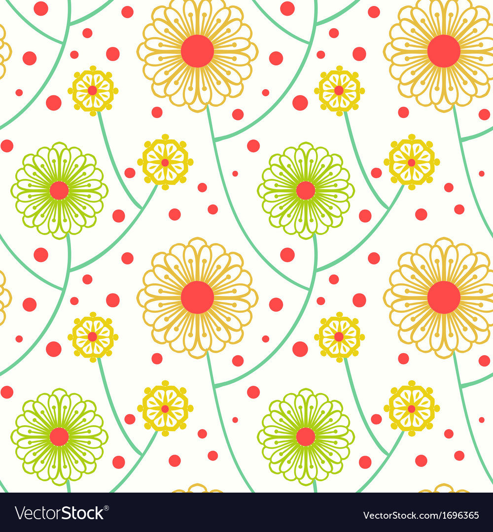 Simple Floral Pattern With Bold Flowers Royalty Free Vector