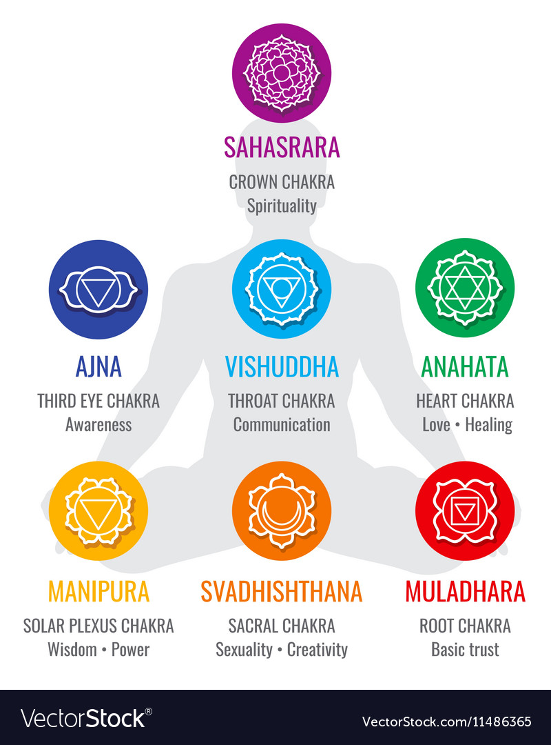 Spiritual Indian Chakra Symbols Sacred Geometry Vector Image