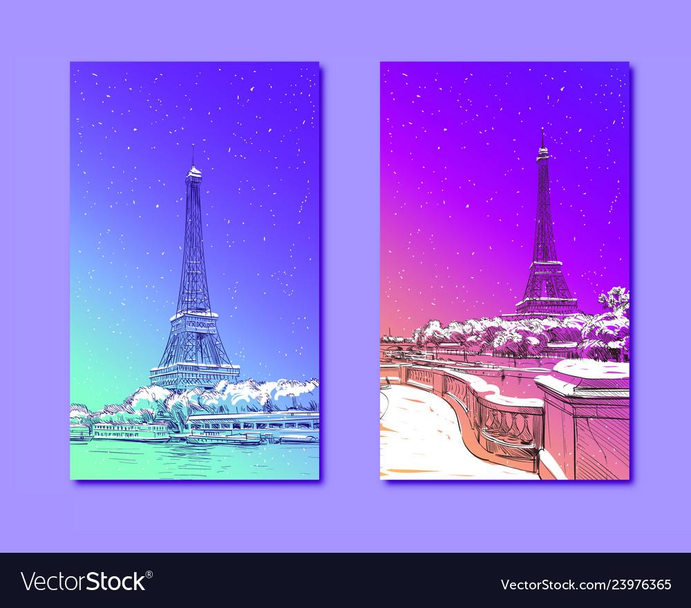 Trendy cover template eiffel tower paris france