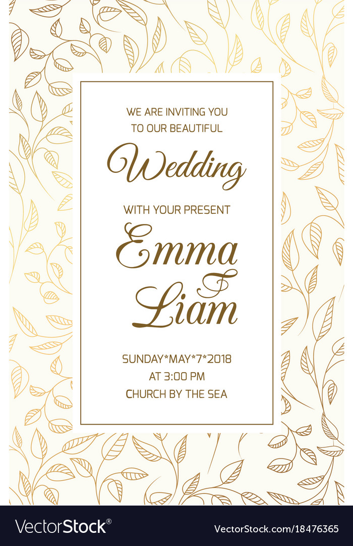Wedding Invitation Card Template Swirl Leaves Gold