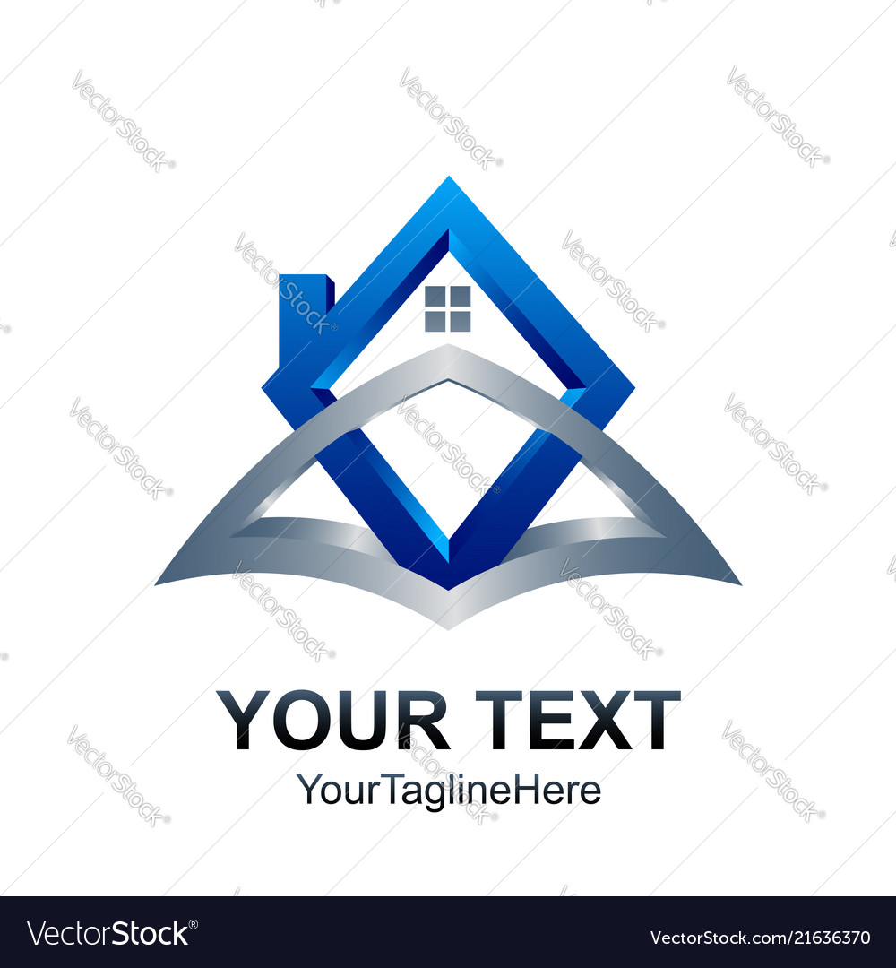 3d real estate logo template home icon element