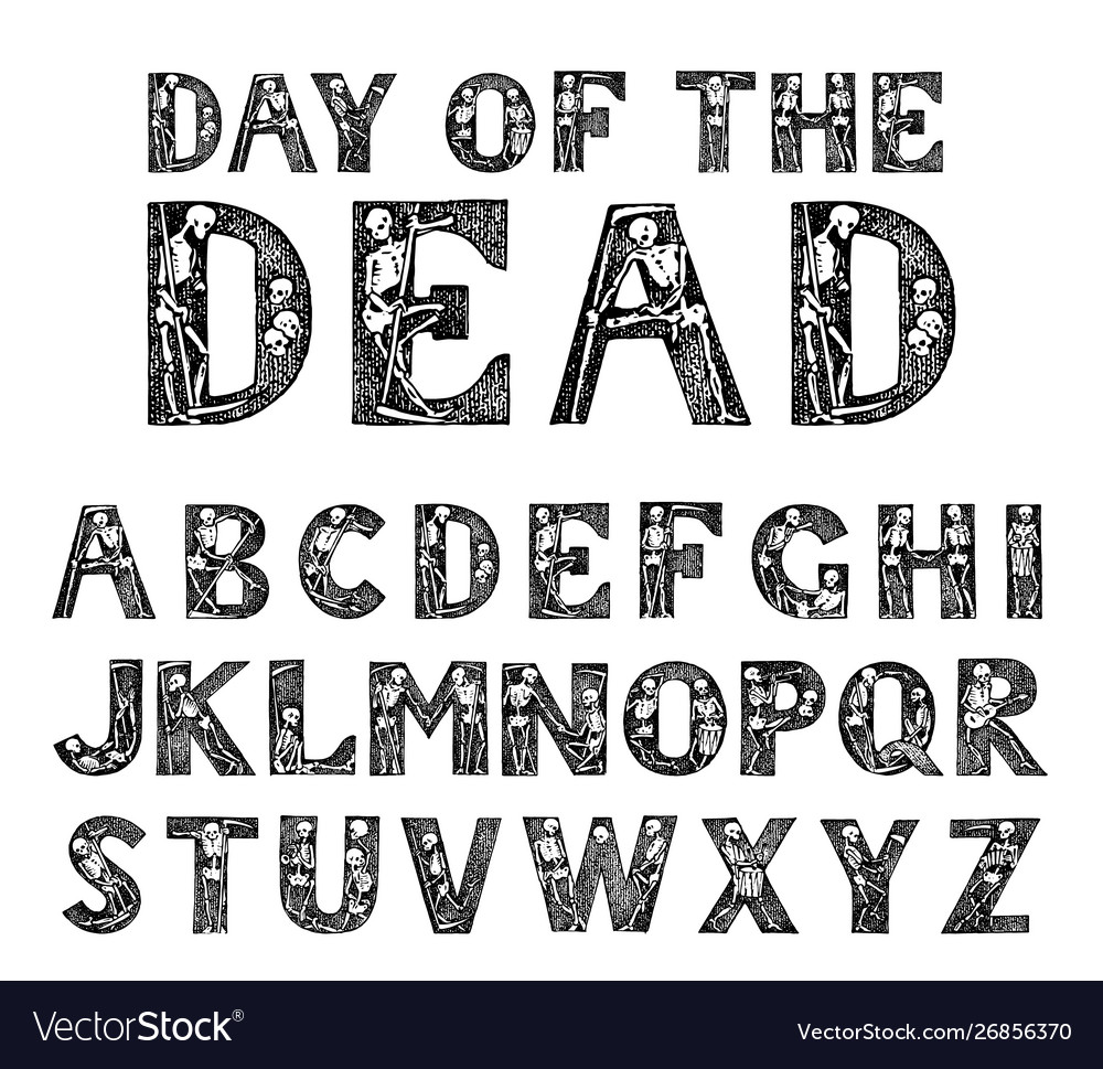 Antique old font with skeletons for posters day of