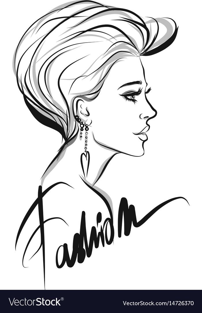 Beautiful woman line art
