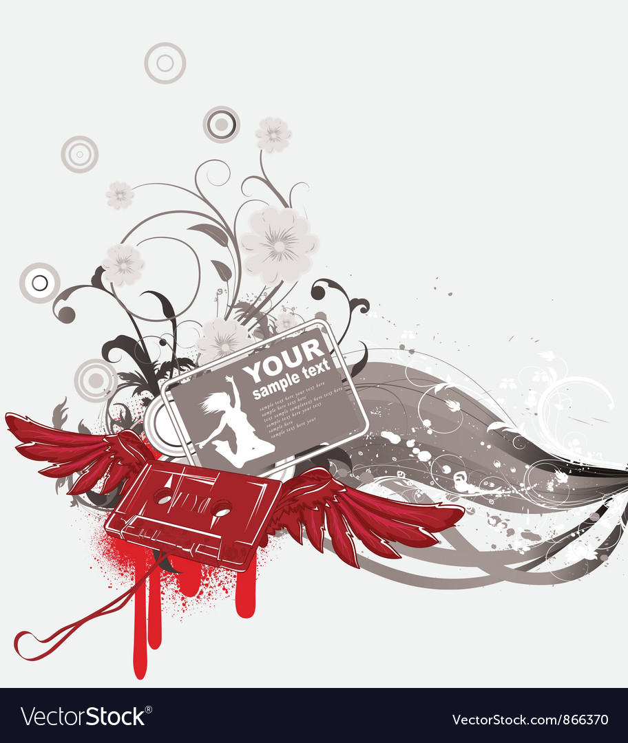 Cassette with wings and grunge vector image