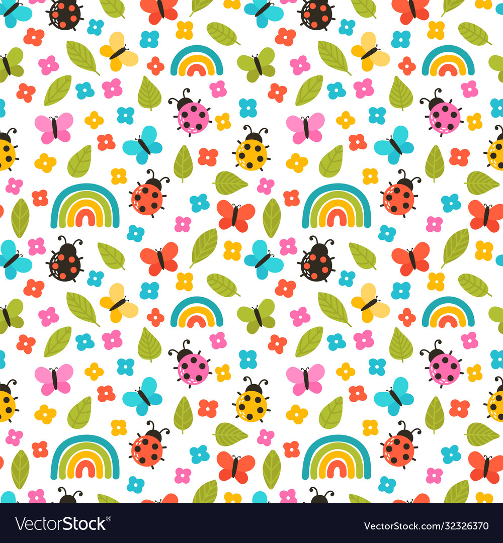 Colorful summer seamless pattern with hand drawn