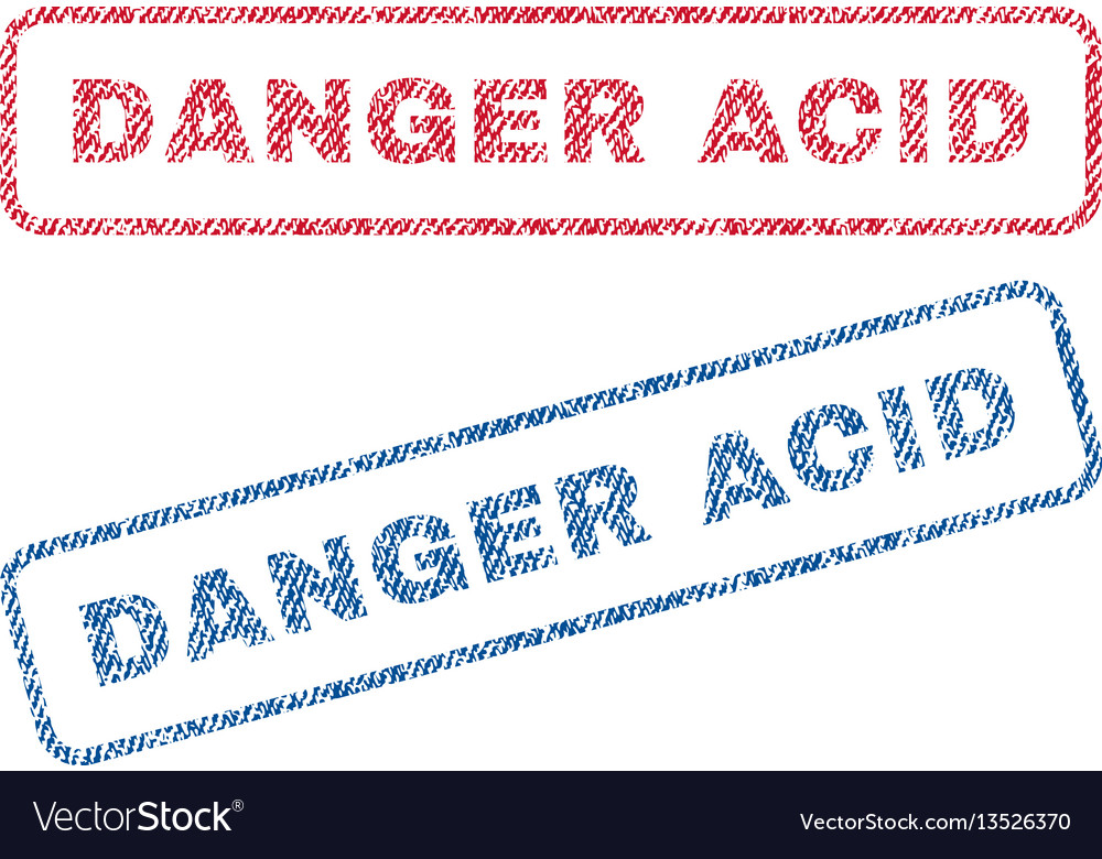 Danger acid textile stamps