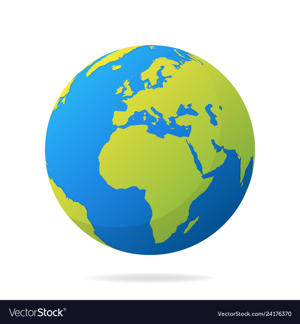 Earth globe with green continents modern 3d world