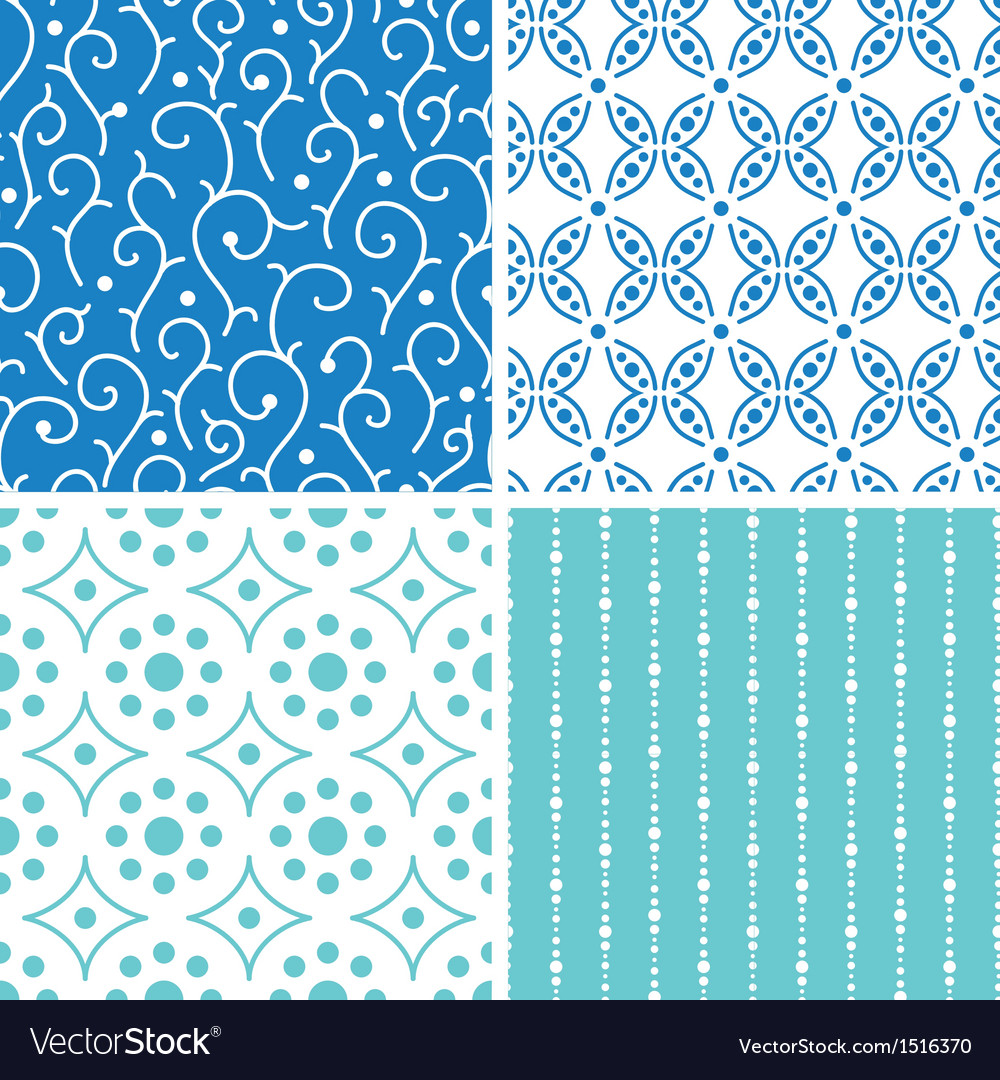 Four abstract doodle motives seamless patterns set vector image