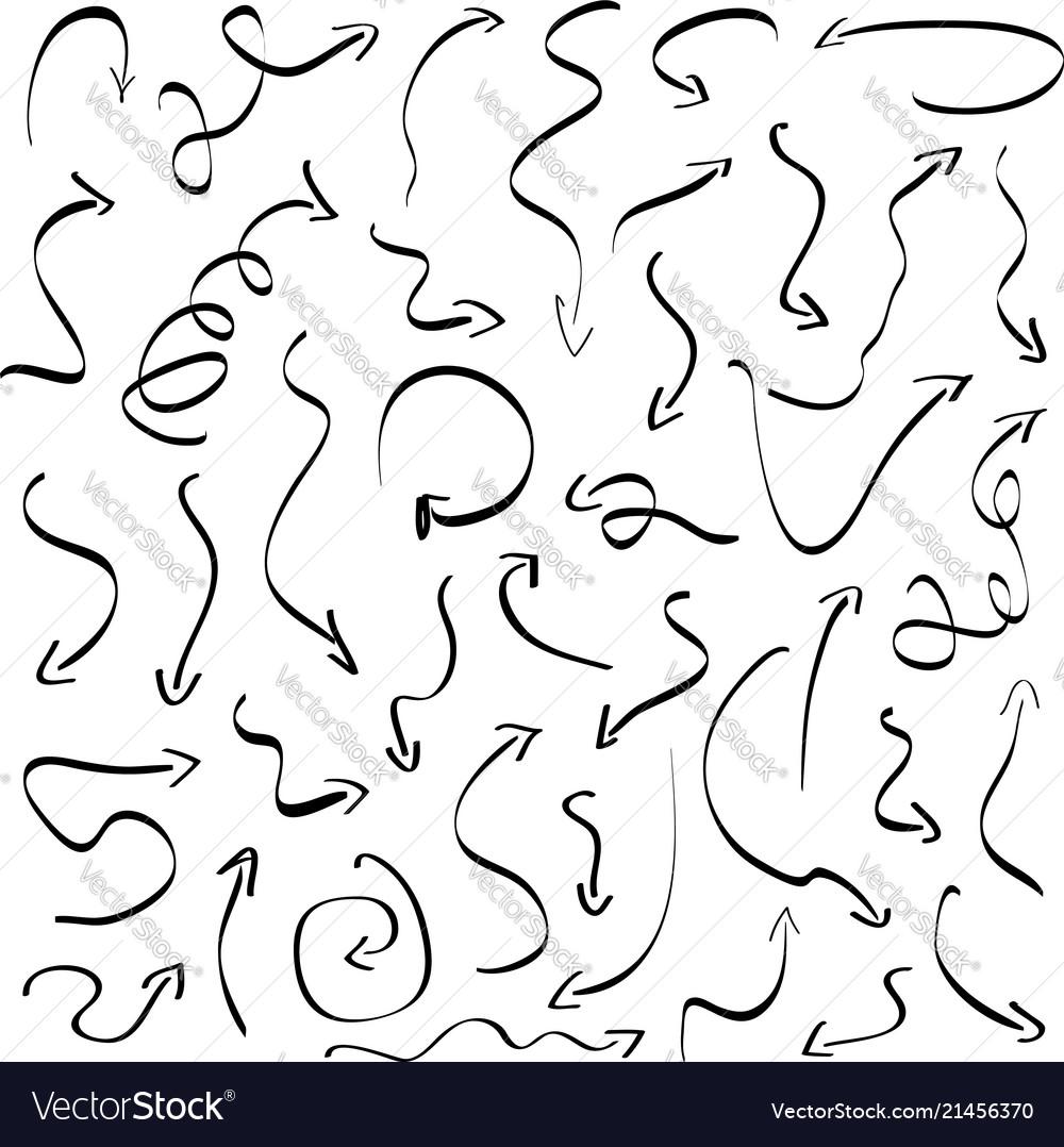 Ink hand drawn arrows set pencil doodle sketch