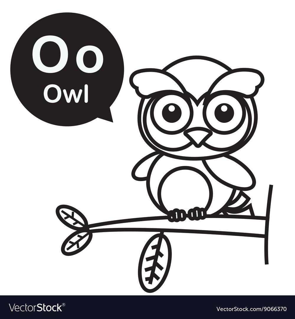 O Owl cartoon and alphabet for children to