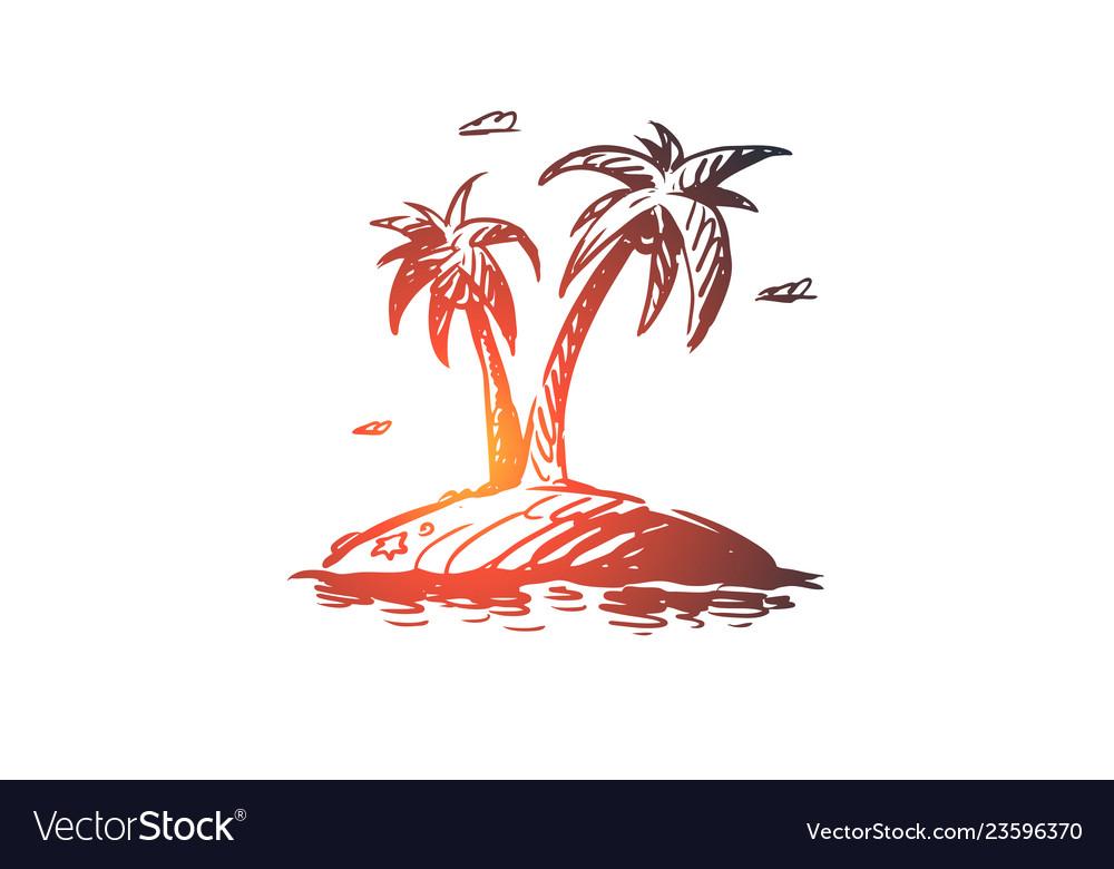 Palm island tree summer beach concept hand