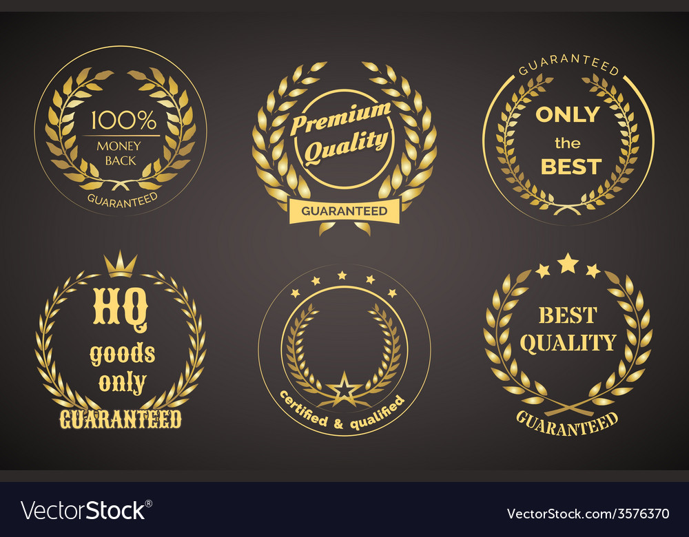 Retro Guarantee Labels with Wreaths vector image