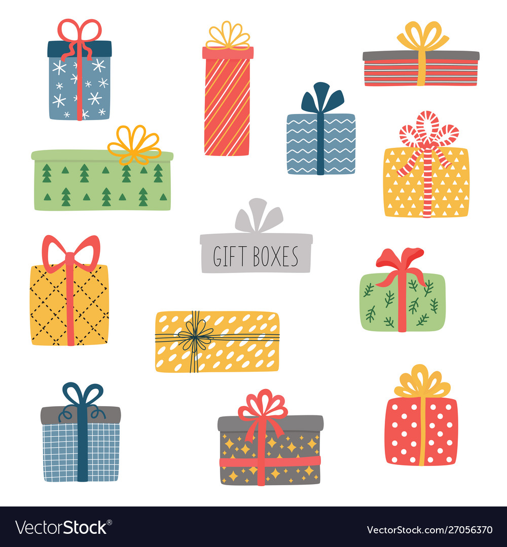 Set different colorful wrapped gift