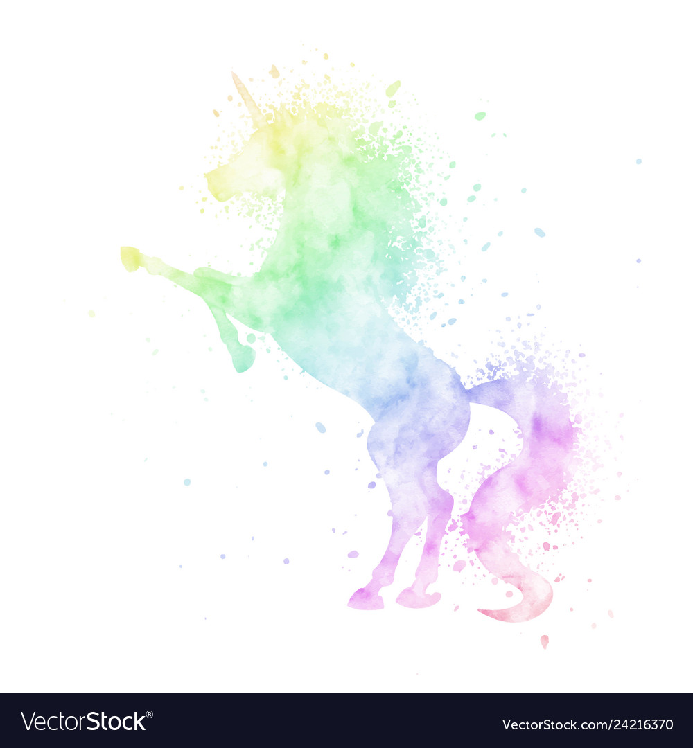 Watercolor rainbow unicorn silhouette painting