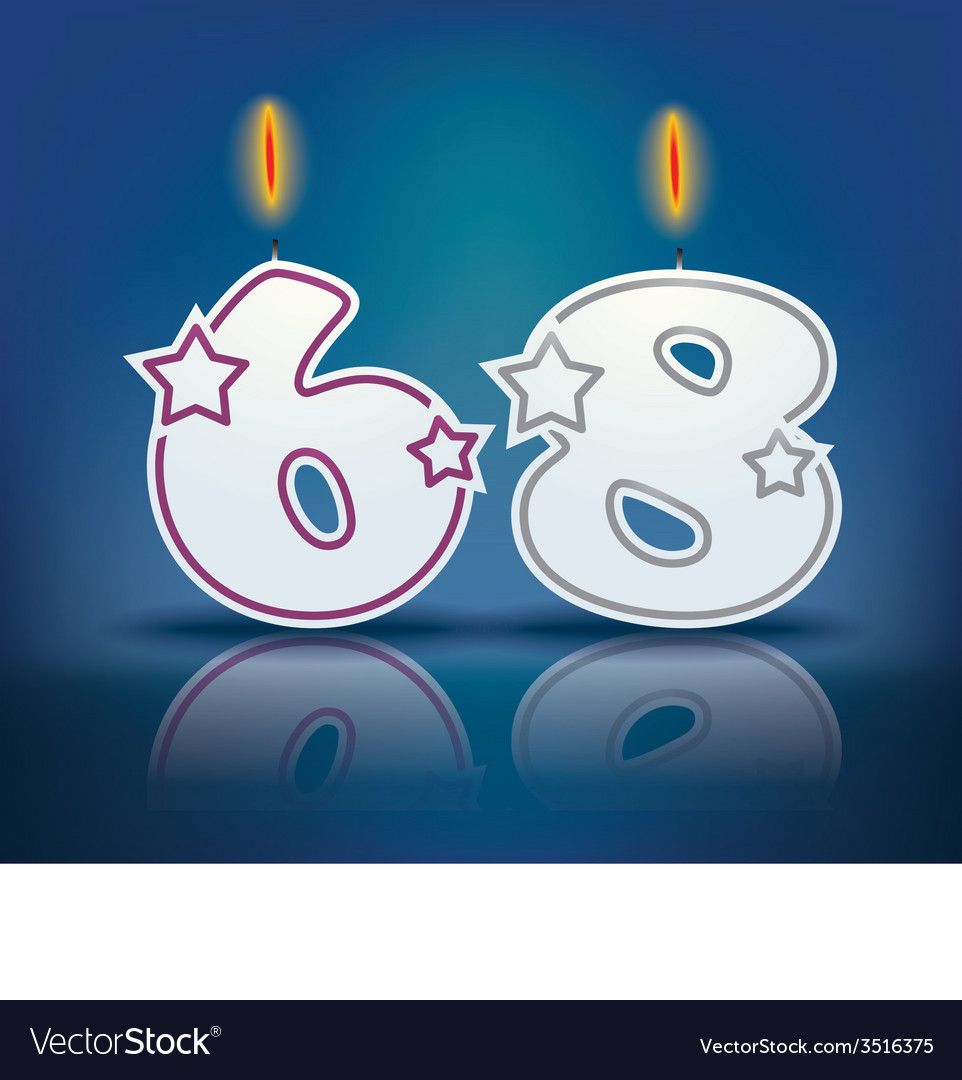 Birthday Candle Number 68 Vector Image