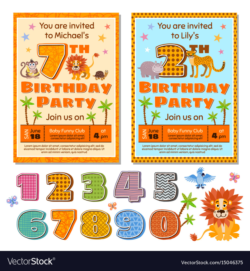 Children Birthday Party Invitation Card Vector Image