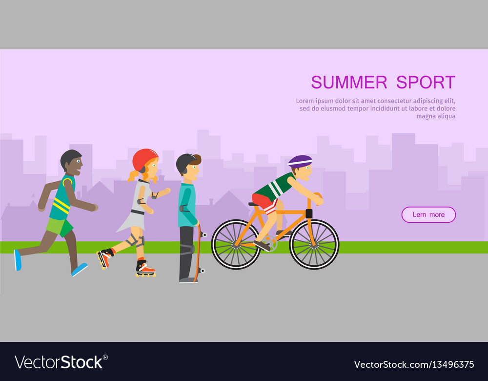 Children going in for sport web banner poster