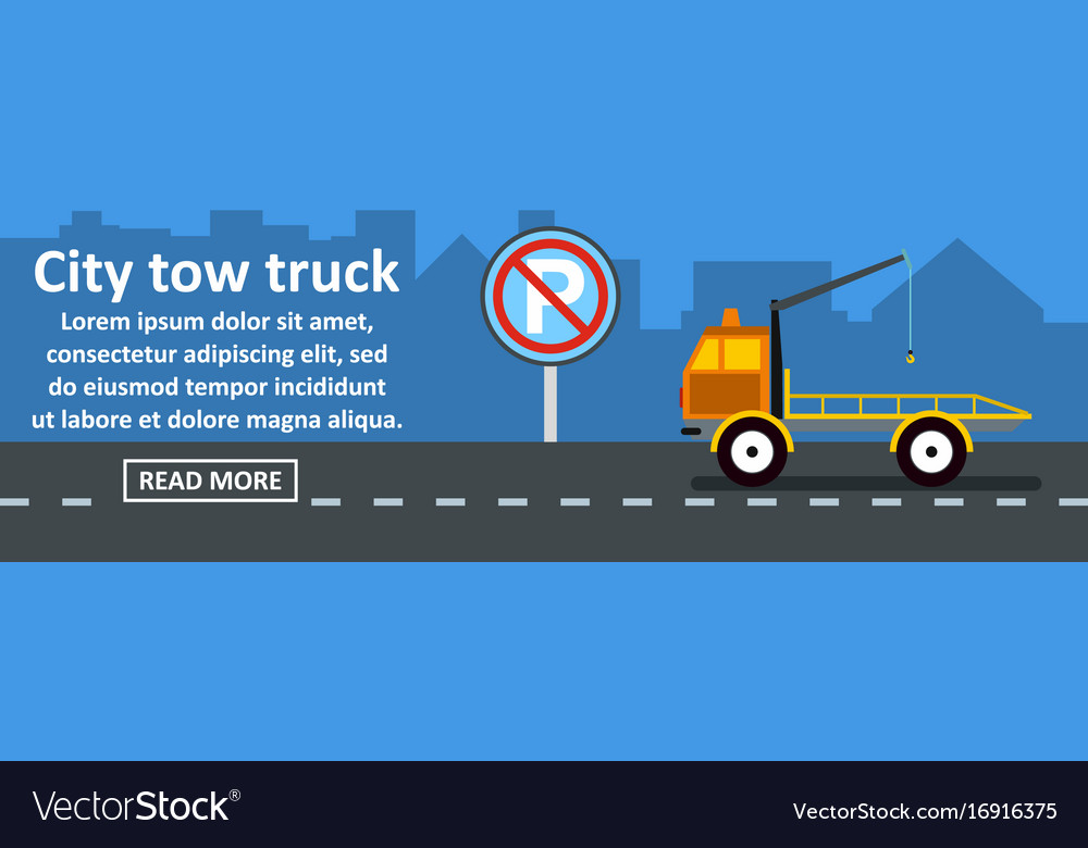City tow truck banner horizontal concept