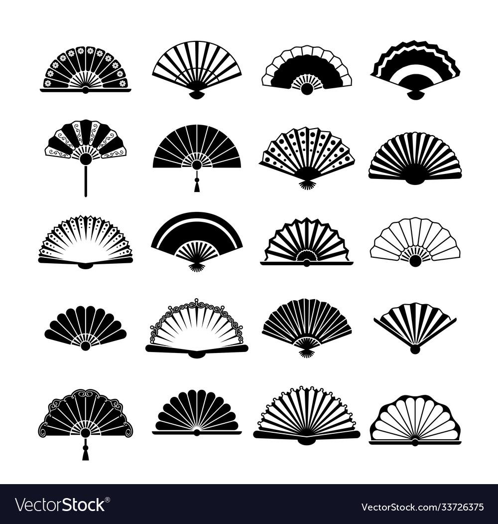 Fans silhouette set collection vintage oriental