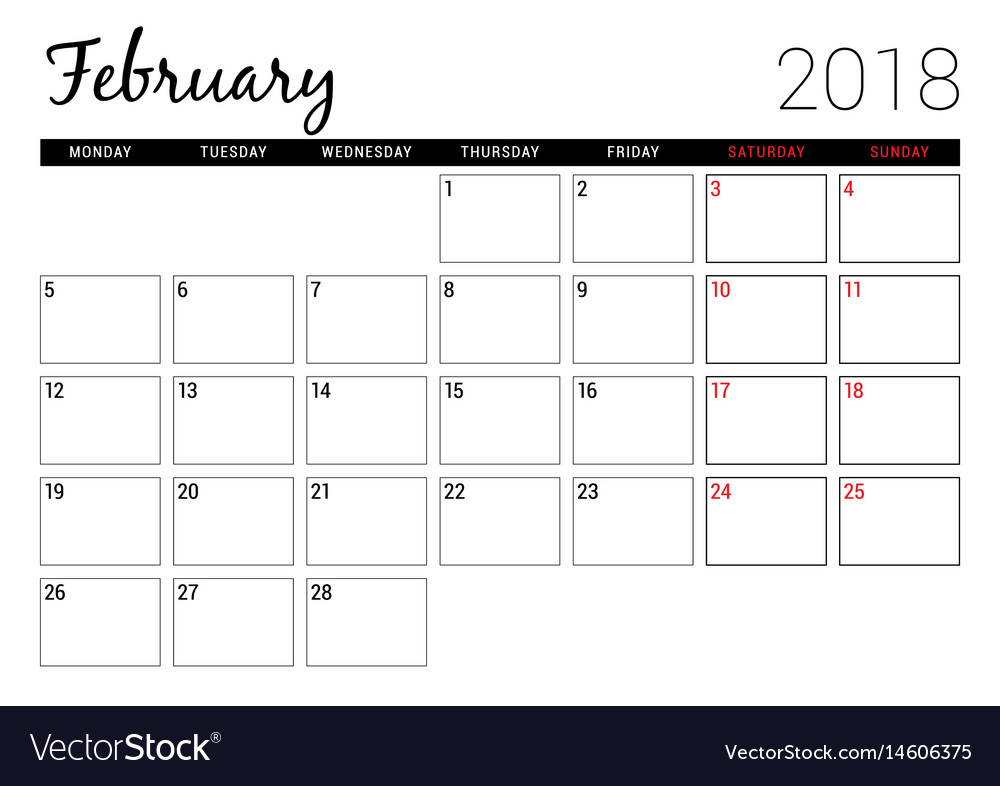 photo about February Printable Calendar known as February 2018 printable calendar planner style and design