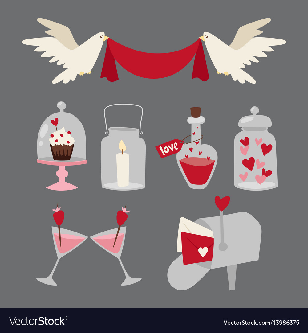 Happy valentine day flat design love wedding items vector