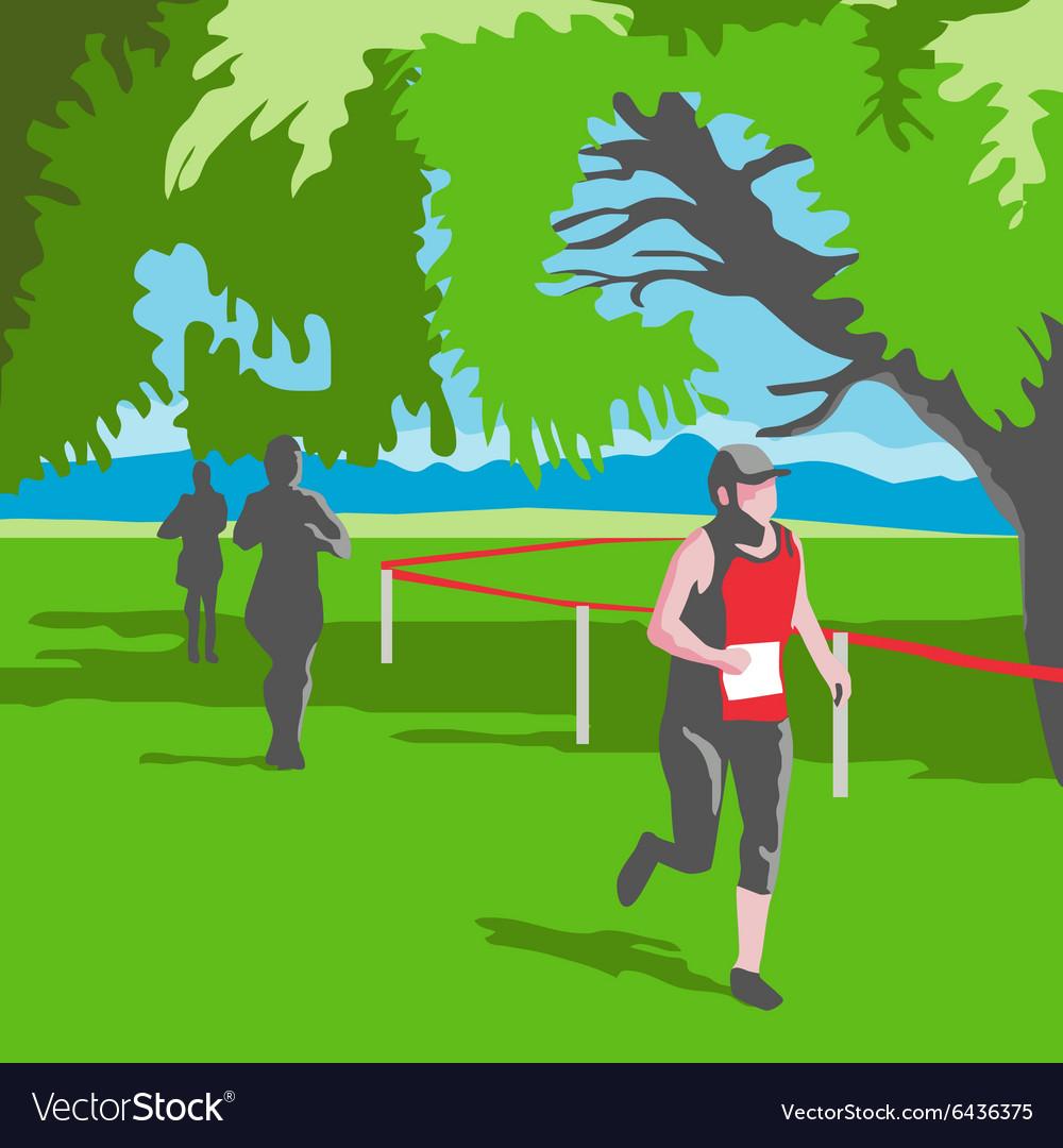 Marathon Runner Running WPA vector image