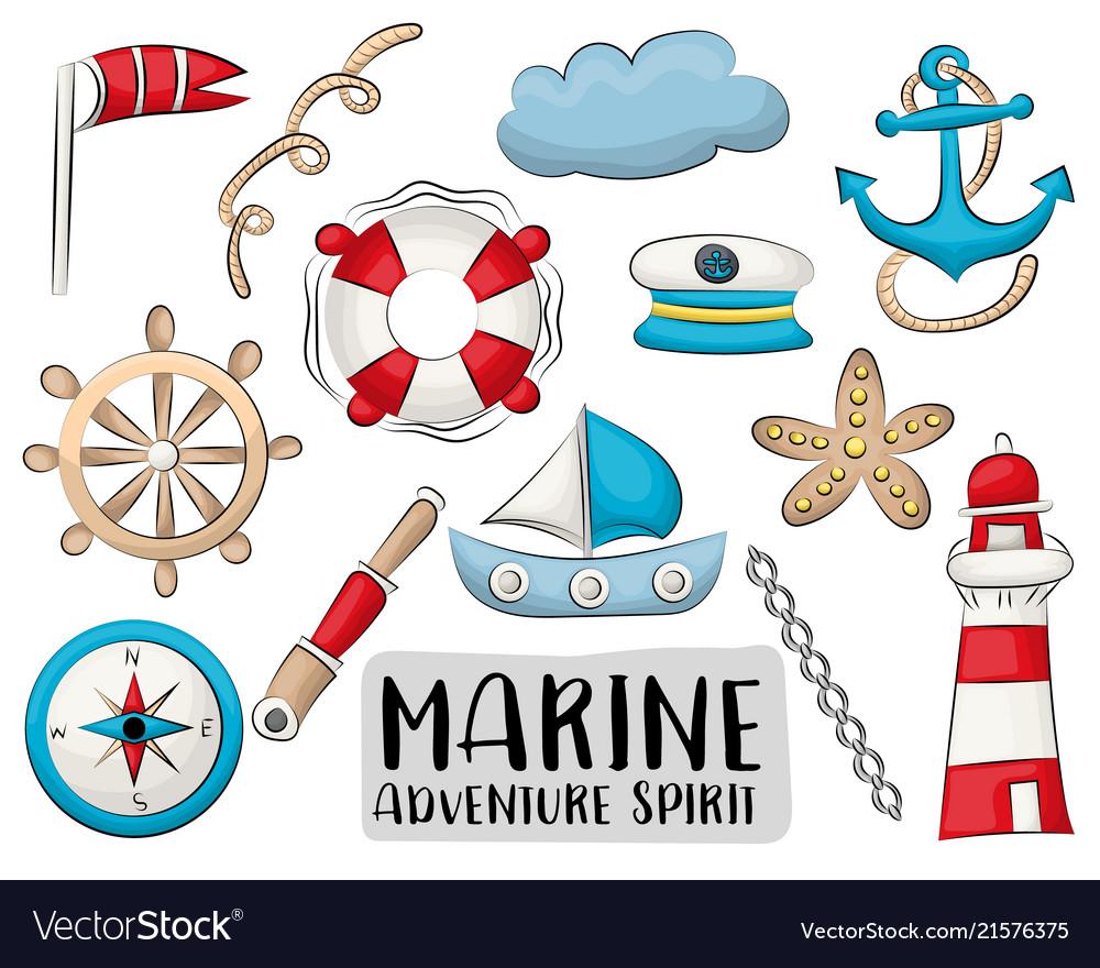 Marine nautical travel icons set colorful hand