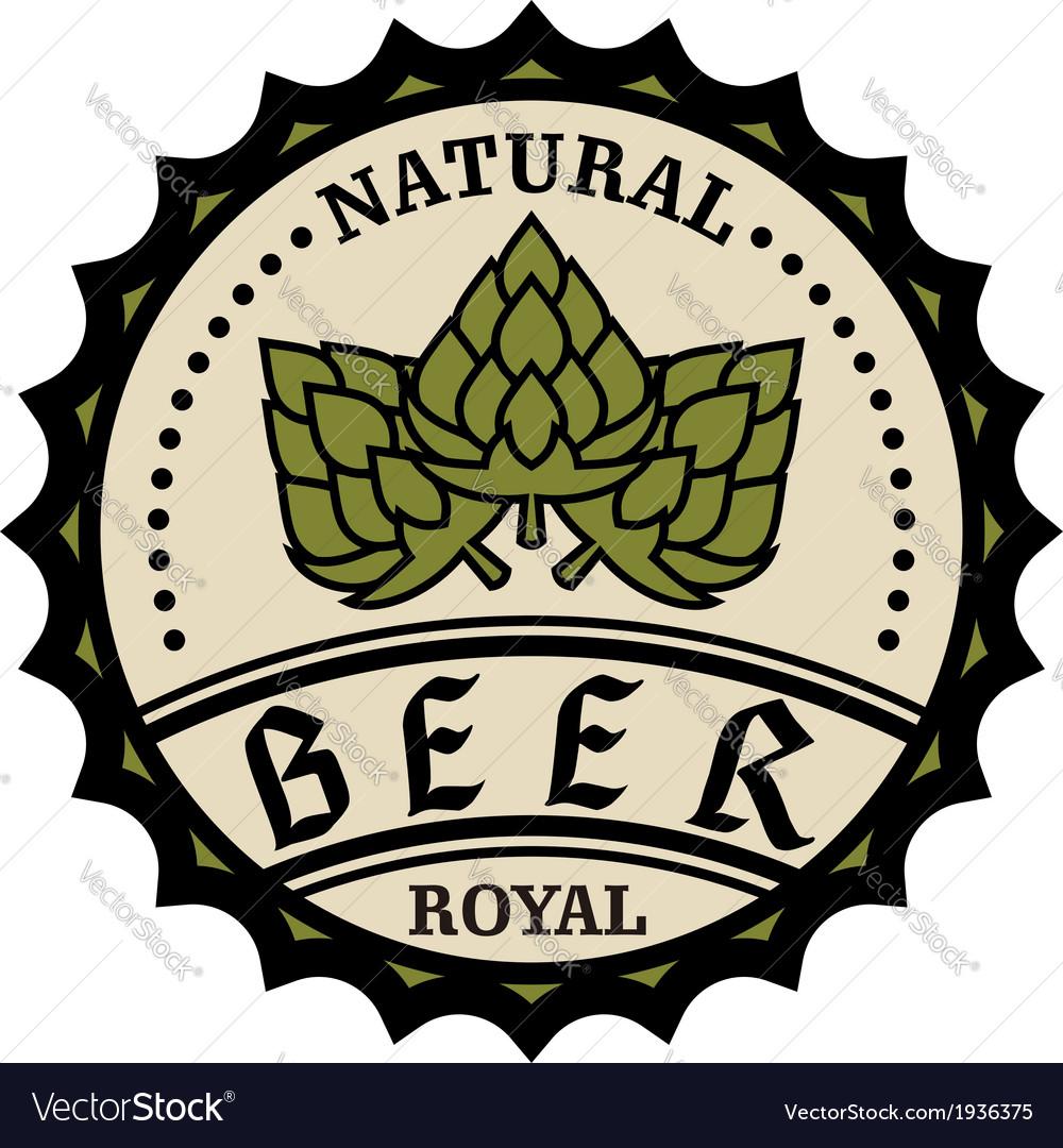 Natural royal beer icon or bottle cap design