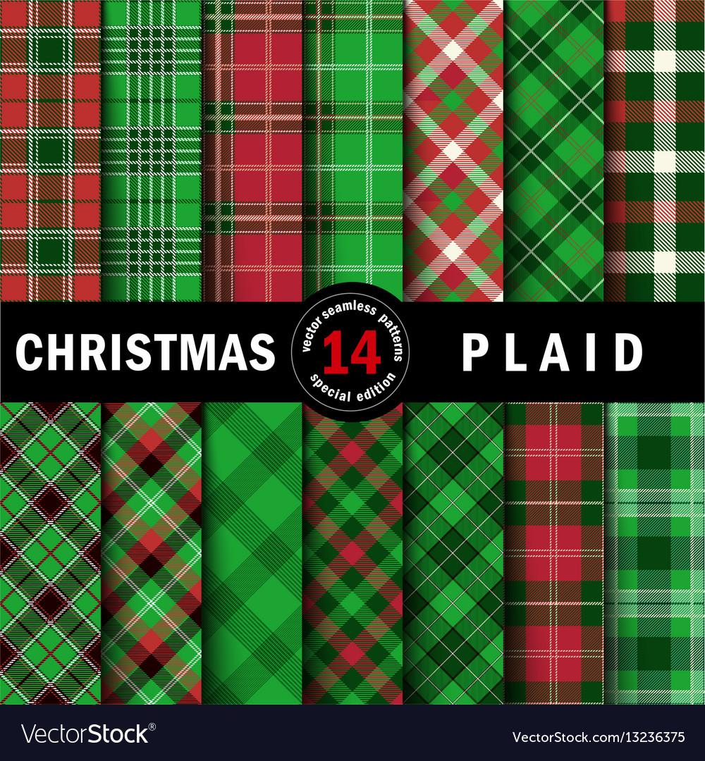 Set christmas tartan seamless patterns