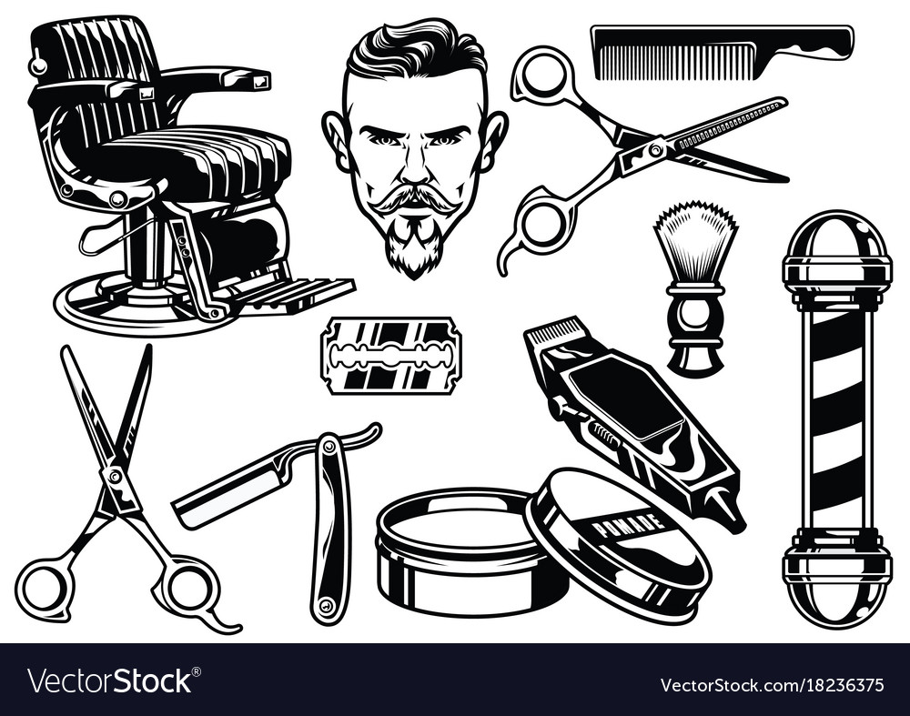 Set of barbershop objects