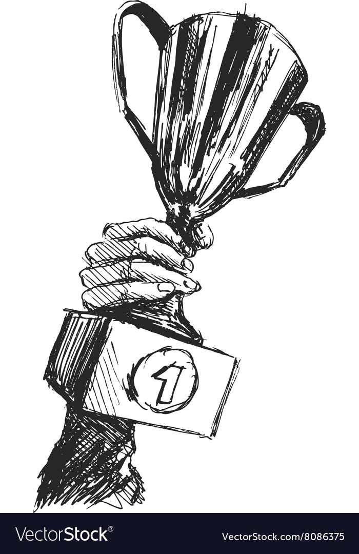 Sketch of a hand holding winning cup vector image