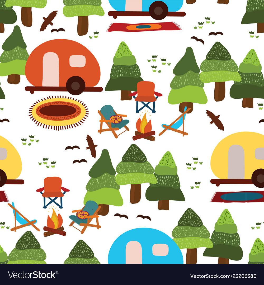 Camping seamless pattern background