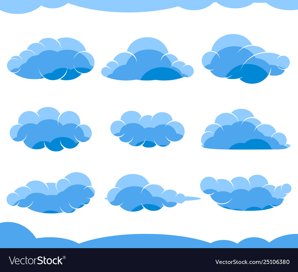 Cartoon blue clouds isolated on white